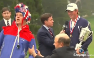 Bird man interrupts Bob Costas and Webb Simpson at U.S. Open.